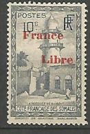 COTE DES SOMALIS SURCHARGE FRANCE LIBRE   N� 208 NEUF** LUXE