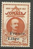 COTE DES SOMALIS SURCHARGE FRANCE LIBRE   N� 226 NEUF** LUXE