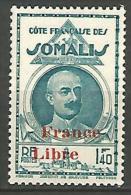 COTE DES SOMALIS SURCHARGE FRANCE LIBRE   N� 222 NEUF** LUXE