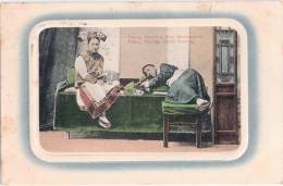 2 Cents China Überdruck PEKING Deutsche Post Auf Ak Manchus Opium Smoking 13.1.1914 Gelaufen - China