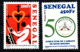 Sénégal 2013 Jubilé D´or 50 Abbaye De Keur Moussa Abbey Coeur Immaculé Church Religion Kirche Eglise 2 Val.  MNH - Senegal (1960-...)