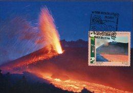 #0038 italia maxicard 2014   eruption of the volcano etna, eruption du vulcan etna