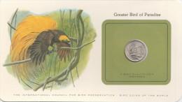BIRD COINS OF THE WORLD GREATER BIRD OF PARADISE L OISEAU DU PARADIS CARTE NUMISMATIQUE FRANKLIN  RP50 1971   tda20a