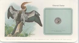 BIRD COINS OF THE WORLD ORIENTAL DARTER L ANHINGA D ORIENT CARTE NUMISMATIQUE OISEAUX FRANKLIN 5 CENTS 1979   Tda20a - Singapour