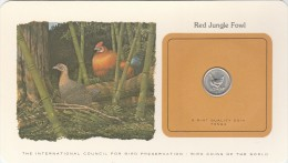 TONGA BIRD COINS OF THE WORLD RED JUNGLE FOWL LE COQ SAUVAGE CARTE NUMISMATIQUE OISEAUX FRANKLIN 5 SENITI 1979    Tda20a - Tonga