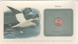 GUERNESEY BIRD COINS OF THE WORLD GANNET LE FOU DE BASSAN CARTE NUMISMATIQUE OISEAUX FRANKLIN 1 PENNY 1979    Tda20a - Guernsey