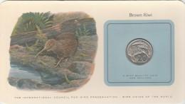 NOUVELLE ZELANDE BIRD COINS OF THE WORLD BROWN KIWI  CARTE NUMISMATIQUE OISEAUX FRANKLIN 1978/20    Tda20a - Nouvelle-Zélande