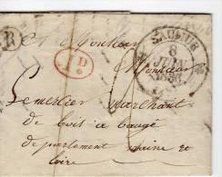 """SAUMUR Maine Et Loire, Type 12 1837 Port Du 2 Décimes Pour BEAUGE Même Dpt, 1d Rge ,BR""""R"""" Pour Commune Rurale Au Départ - Storia Postale"""