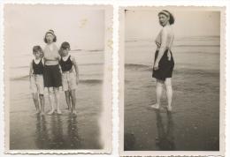 Foto/Photo. Scène De Plage. Femme,Enfants,Maillot. Lot De 2 Photos. - Personnes Anonymes