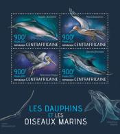 CENTRAL AFRICA 2013 - Dolphins & Seabirds; Dauphins Et Oiseaux Marins. Official Issue - Pelikanen