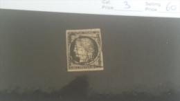 LOT 222732 TIMBRE DE FRANCE OBLITERE N�3 VALEUR 60 EUROS