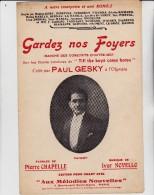 """PARTITION MUSICALE """"GARDEZ NOS FOYERS """" MARCHE DES CONSCRITS D'OUTRE-MER-P.GESKY - Partitions Musicales Anciennes"""
