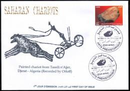 DZ 2014 - FDC - Saharan Chariots Prehistory Rupestry - Tassili  Paintings Horse Cheval Pferd Paard Caballo - Préhistoire