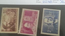 LOT 222849 TIMBRE DE FRANCE NEUF* N�462 A 464 VALEUR 16,5 EUROS