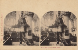 Carte Stereo Hollande Holland Harleem Groote Kerk - Cartes Stéréoscopiques