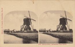 Carte Stereo Hollande Holland Amsterdam Watermolen Moulin - Cartes Stéréoscopiques