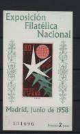80c. Bloque Expo Filatélica 1958 ; Edifil No.1222 Sin Fijasello ; Michel Nr. 1119 Block 13 , Ohne Falz , No Usado - 1931-50 Nuevos & Fijasellos