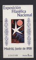 3Pts Bloque Expo Filatélica 1958 ; Edifil No.1223 ; Michel Nr. 1120 Block 14, No Usado - 1931-50 Nuevos & Fijasellos