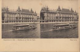 Carte Stereo France Paris Exposition 1900 Pavillon De La Ville De Paris - Cartes Stéréoscopiques