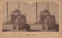 Carte Stereo Egypte Moche Au Caire Mosquée - Cartes Stéréoscopiques