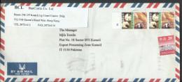 Hong Kong China 2002 Airmail $1.40, 20c Postal History Cover Sent From Hong Kong To Pakistan - 1997-... Chinese Admnistrative Region