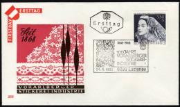 ÖSTERREICH 1968 - Spitzen / 100 J. Vorarlberger Stickerei Industrie - Sonderstempel FDC - Textil