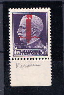 ITALIA RSI ITALY KINGDOM  RSI 1944  50 Lire Violetto Soprastampa tir. VERONA Siglato MNH (**) G.I.