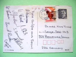 "Korea South 1988 Postcard ""Olympics Shooting"" To Germany - Ping Pong - Ahn Chang-ho Fighter - Korea, South"
