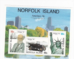 Norfolk Island 1986 Ameripex Souvenir Sheet MNH - Norfolk Island