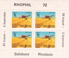 Rhodesia 1972 Rhophil  Stamp Expo,Wheat Harvest  Souvenir Sheet MNH - Rhodesien (1964-1980)