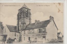 CHARTRETTES  La Mairie Et L´Eglise, école Communale ,attelage - Autres Communes