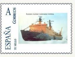 "SPAIN*ESPAÑA*ANTARTIDA*AN TARCTIC*RUSSIAN NUCLEAR ICEBREAKER ""ARKTIKA""*SHIPS*BARCOS*TU             SELLO - Navires & Brise-glace"
