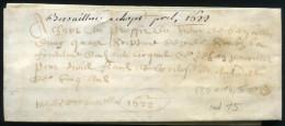 PARCHEMIN FORMAT 475 X 145mm DE 1622 - SUP - Marcophilie (Lettres)