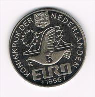 ¨¨ NEDERLAND  HERDENKINGSMUNT  WILLEM BARENTSZ  NOVA ZEMBLA  5 EURO 1996 - Pièces écrasées (Elongated Coins)