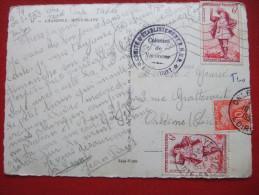 """CARTE TAXEE - CARTE DE CHAMONIX POUR ORLEANS - AFF DU N° 943 X 2 - TAXEE DU 10 FF N° 76 EN 1953 - """" RARE """" - Lettres Taxées"""