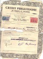 Contrat Placement Crédit Philatélique Paris Et Succursale Pézenas Hérault 1949 - Timbres Fiscaux Dont 1 Bord De Feuille - Timbres
