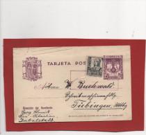 Censura San Sebastian, Postal 10c.,Reyes Católicos , Edifil No.81, 1938 A Tübingen (Alemania) Con Sello 15cms - 1931-50 Cartas