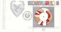 CYPRUS 1990  MICHEL NO BL.15   FDC - Chypre (République)