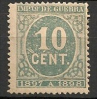 Timbres - Espagne - Impôts De Guerre - 1897-1898 - 10 Cent. - - Impots De Guerre