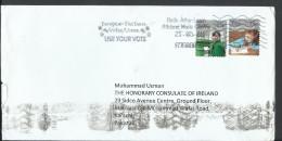 Ireland 2009 Airmail Eire An Post Anniv. 2009 Coil European Election, Slogan Cancellation Mark Postal History Cover. - 1949-... Republic Of Ireland
