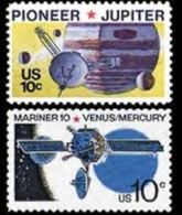 1975 USA Space Stamps #1556-57 Pioneer Jupiter Mariner 10 Venus Mercury Telecom - Space