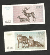 [NC] LATVIA / LITUANIA - 200 & 500 TALONU (1993) - LOT Of 2 DIFFERENT BANKNOTES - Lituania