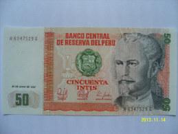 BANCONOTE   PERU'  50  INTIS   FIOR DI STAMPA - Peru