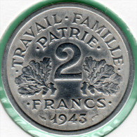 France Pi�ce monnaie 2 Francs Francisque Bazor 1943 B Superbe