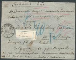 Rußland,Wertbrief/2x 42y) über 15 Rubel Balachanie-Jena, Feinst - 1857-1916 Imperium