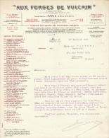 1920 Brief Lettre Factuur Invoice Aux Forges De Vulcain Paris Rue St Denis - France
