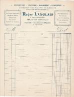 Brief Lettre Factuur Invoice Langlais Blaye Zinguerie Gironde - France