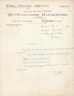 1952 Brief Lettre Factuur Invoice Quincaillerie Bapalmoise Fers-Fontes-Métaux Bapaume Rue De Péronne - France