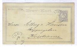 NORVEGE: Entier Postal De Type Carte Postale De 5ore Bleu Obl.Thoten En 1881 - Ganzsachen