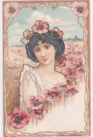 CARD DONNINA LIBERTY FIORI DI PAPAVERI -FP-V-2- 0882-21485 - Illustrators & Photographers